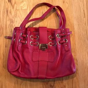 Red large shoulder purse leather